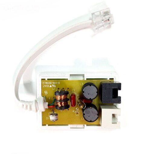 مشخصات فنی مشخصات فیزیکی ابعاد 25×42×58 میلیمتر وزن 40 گرم مشخصات فنی رابطها پورت RJ-11 (سوکت تلفنی) عملکرد اصلی حذف نویز از خطوط تلفن فیلتراسیون صدا و دیتا در خطوط ADSL و VDSL جلوگیری از قطعی اینترنت هنگام استفاده از خط تلفن دارای VDR جهت محافظت از مودم و تلفن درصورت متصل شدن به برق سایر مشخصات دارای 1 خروجی سوکت خط تلفن دارای 3 سلف برای نویز گیری بهتر دارای 1 خروجی سوکت تلفن جهت اتصال به تلفن دارای 1 خروجی سوکت تلفن جهت اتصال به مودم